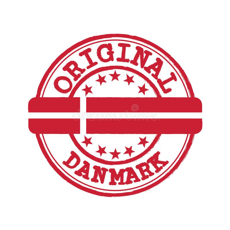Free Vector Stamp Of Original Logo With Text Danmark And Tying In The Middle With Denmark Flag Stock Image - 156691671