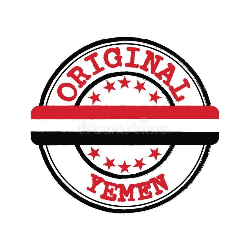 Vector Stamp Original-Logo mit Text Jemen und Tying in der Mitte mit Nationalflagge stock abbildung