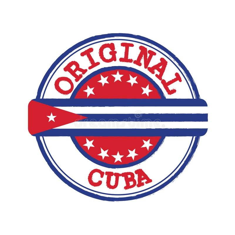 Vector Stamp of Original logo with text Cuba and Tying in the middle with nation Flag. Grunge Rubber Texture Stamp of Original from Cuba stock illustration