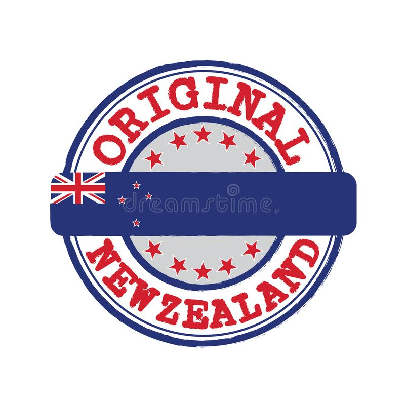 Vector Stamp for Original logo with text New Zealand and Tying in the middle with nation Flag. vector illustration