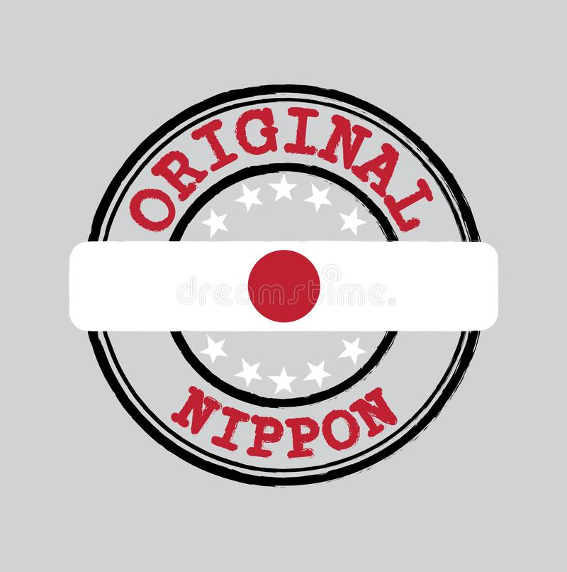 Vector Stamp for Original logo with text Nippon and Tying in the middle with Japan Flag vector illustration