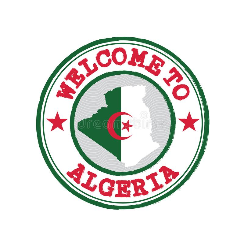 Vector stamp of welcome to Algeria with map outline of the nation in center royalty free illustration
