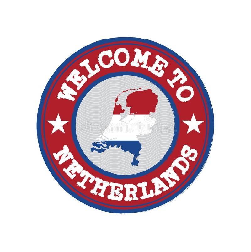 Vector Stamp of welcome to Netherlands with nation flag on map outline in the center vector illustration