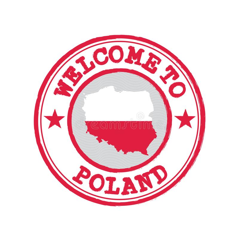 Vector stamp of welcome to Poland with map outline of the Polska in center royalty free illustration