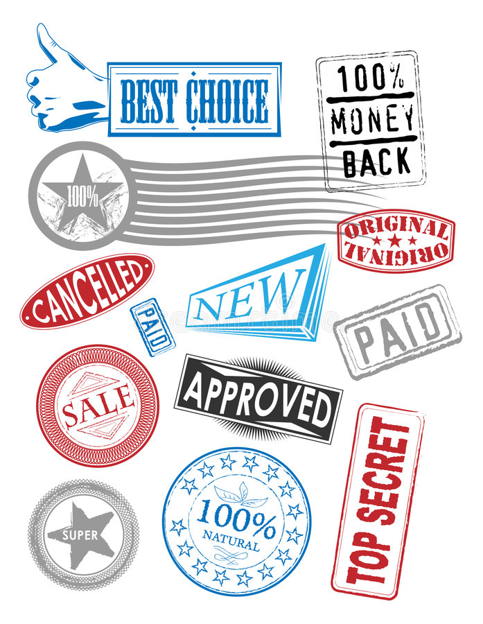 Vector stamps with various tags royalty free illustration