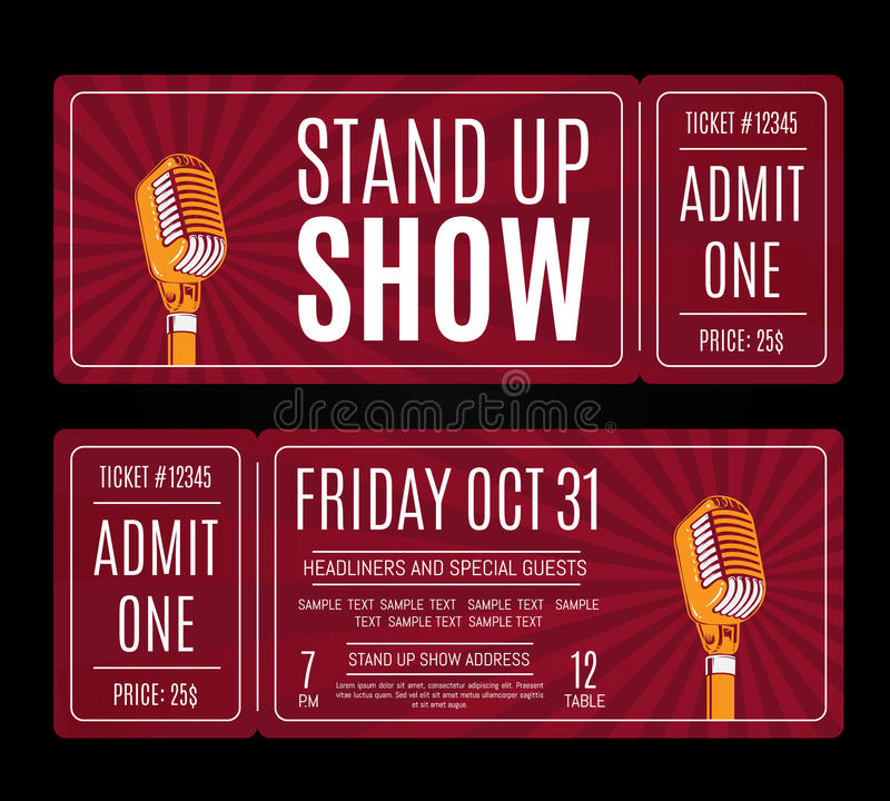 Vector stand up show tickets with retro microphone on sunburst background. Humor entertainment and perform illustration royalty free illustration