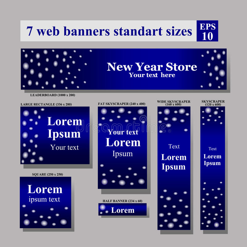 Vector standard size web banners Winter Sale collection vector illustration