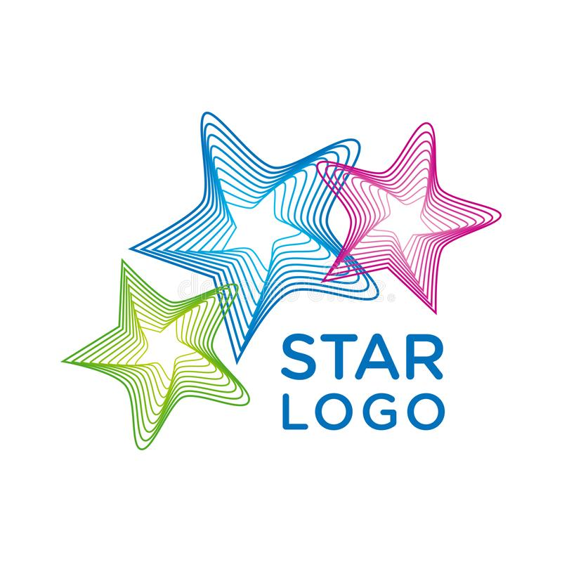 Vector star logo. Logo design template with 3 colorful stars on a white background stock illustration