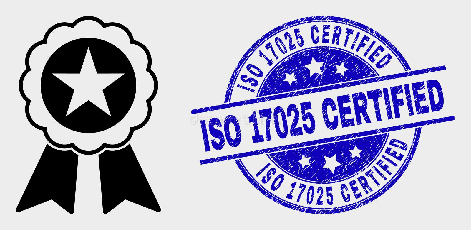 Vector Star Seal Icon and Distress ISO 17025 Certified Stamp. Vector star seal icon and ISO 17025 Certified seal. Red round distress seal with ISO 17025 stock illustration