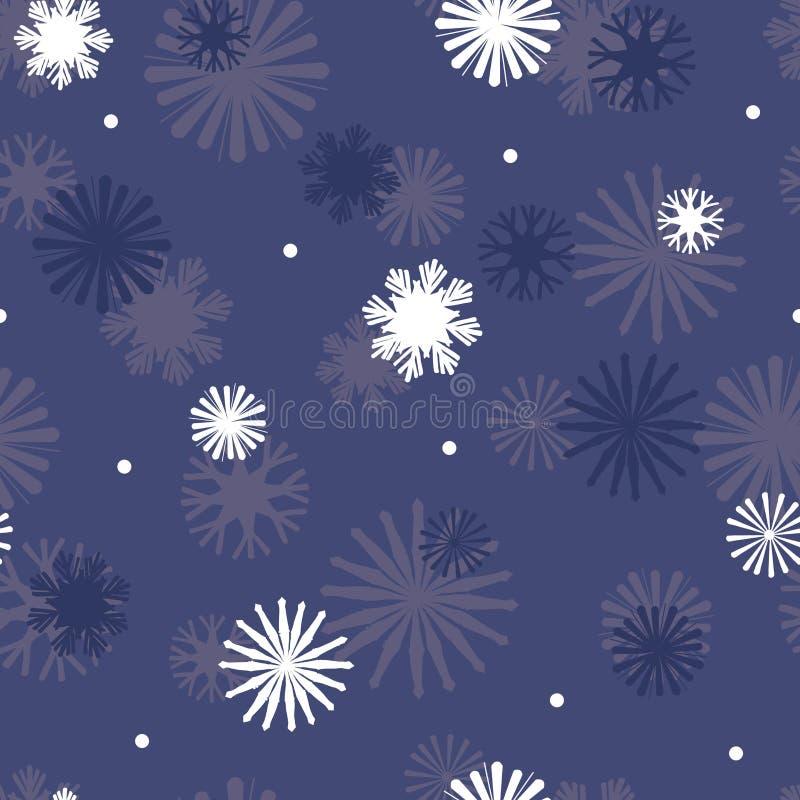 Vector Star Snowflakes na tle niebieskiego wzorka ilustracji