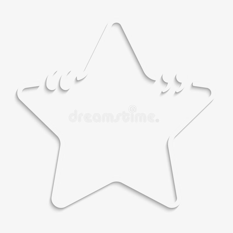 Vector Star Speech Bubble Quote Blank Template. Empty Quote Template. Business Card Template, Information, Text. Bracket. Sending, Direct Speech. Quotes stock illustration