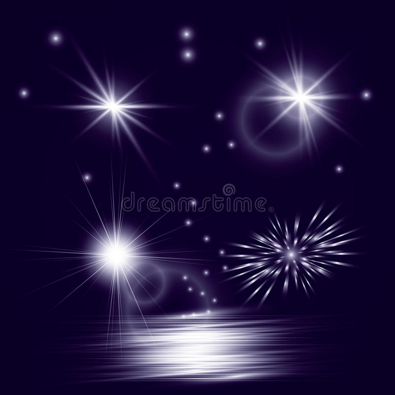 Vector star, sun with lens flare. royalty free illustration