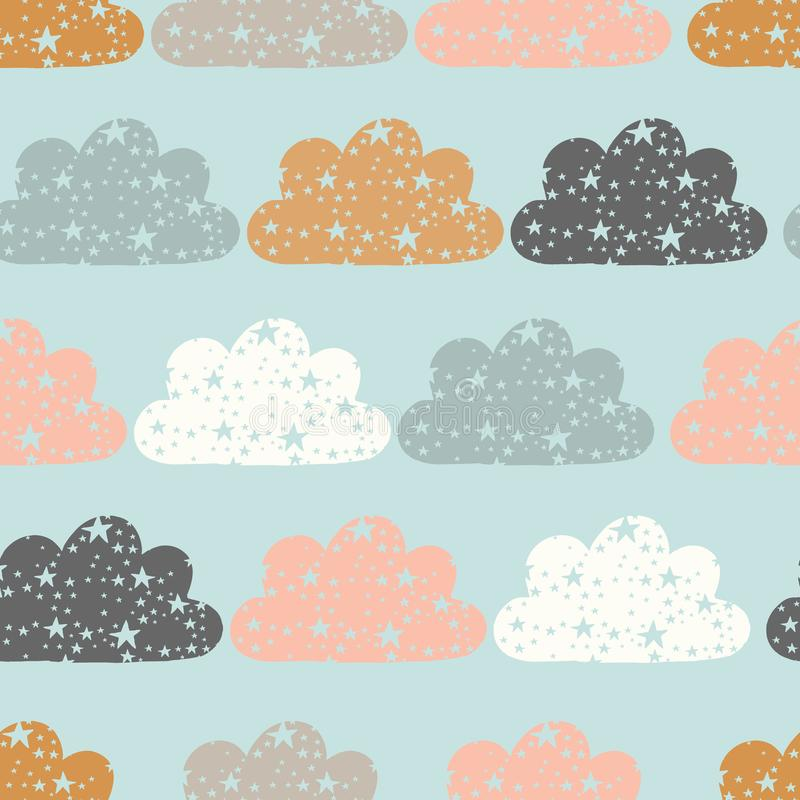 Vector starry clouds repeat background, cloud repeat pattern, stars and clouds pattern stock illustration