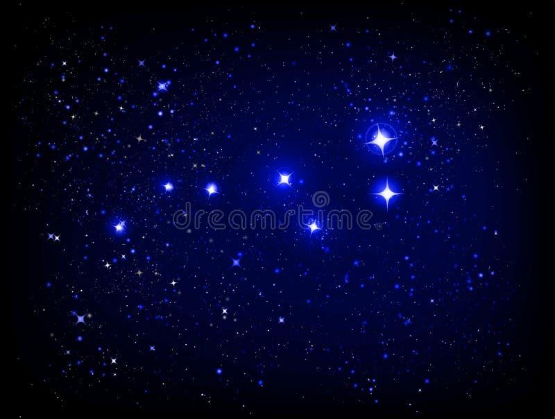 Vector starry sky with Ursa Major vector illustration