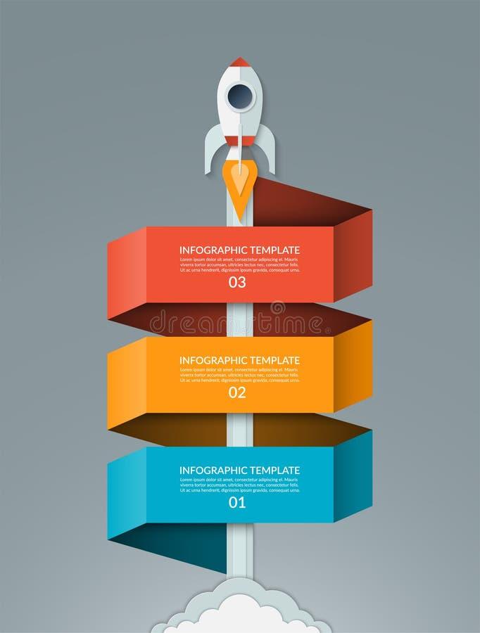 Vector startinfographics Beginnende ruimteraket met 3 optiesbanner stock illustratie