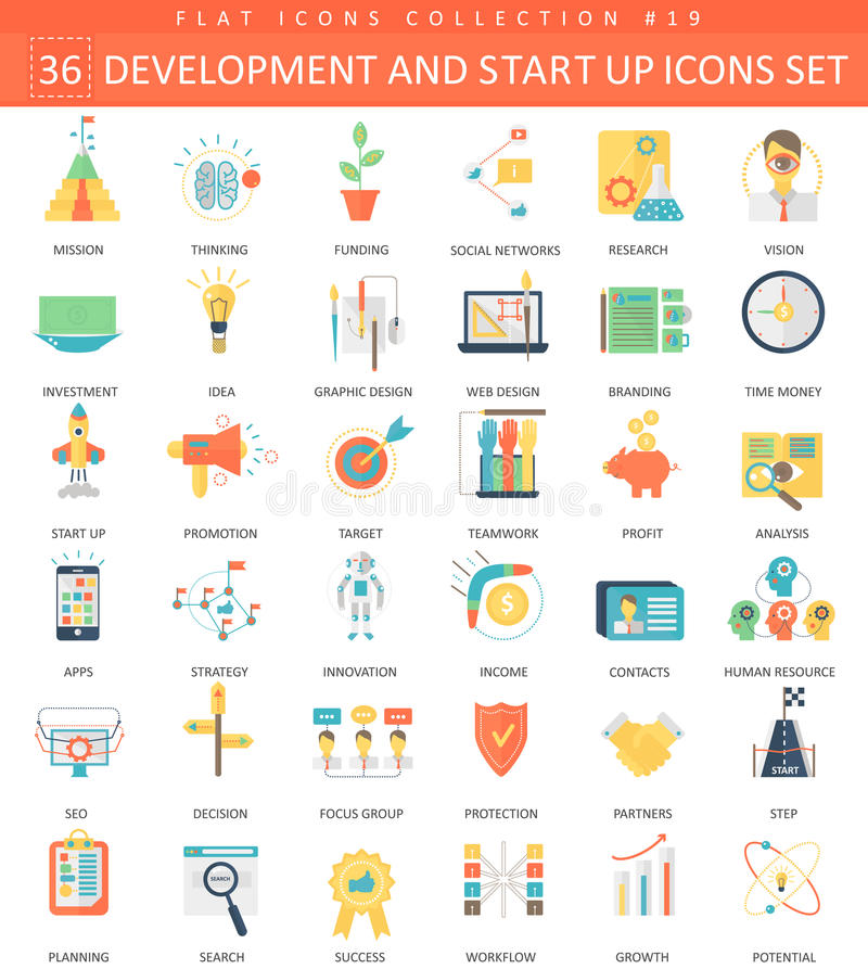 Vector startup and development flat icon set. Elegant style design. stock illustration