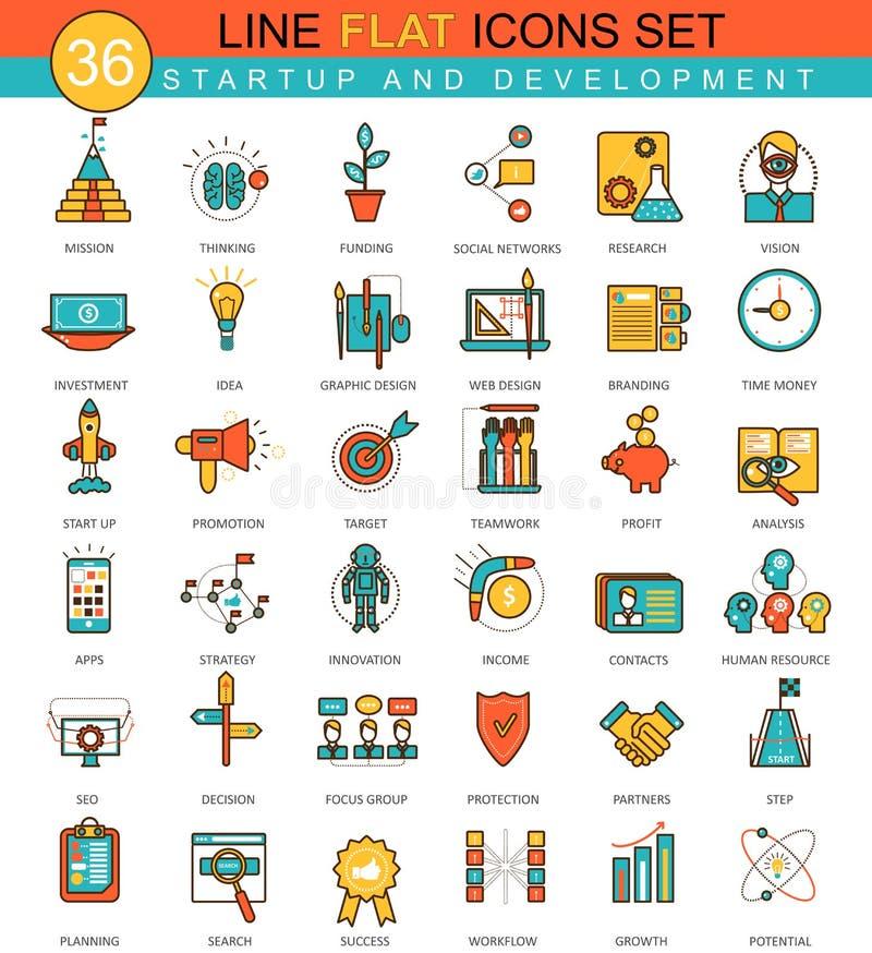 Vector Startup and development flat line icon set. Modern elegant style design for web. Vector Startup and development flat line icon set. Modern elegant style stock illustration