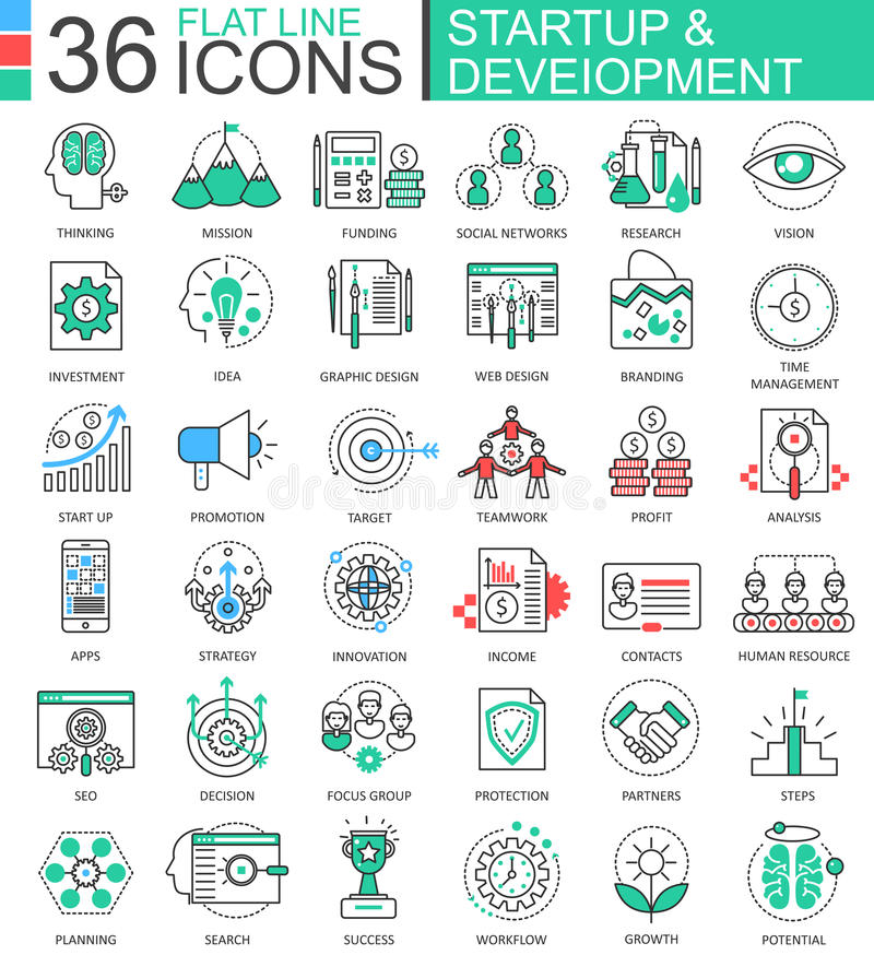 Vector Startup and development modern color flat line outline icons for apps and web design. Vector Startup and development modern color flat line outline icons stock illustration