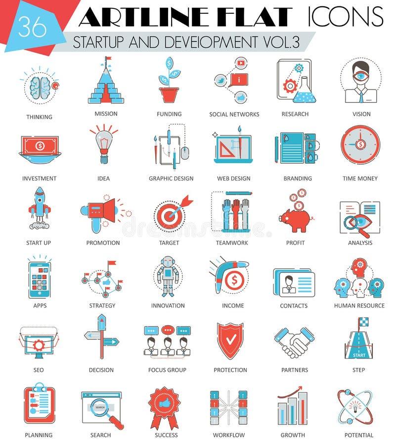 Vector Startup and development ultra modern outline artline flat line icons for web and apps. Vector Startup and development ultra modern outline artline flat vector illustration