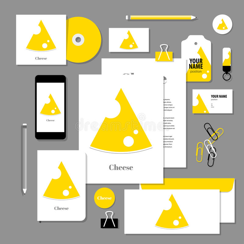 Vector stationery template design with Triangular piece cheese. Corporate identity business set design. Vector stationery template design with Triangular piece vector illustration