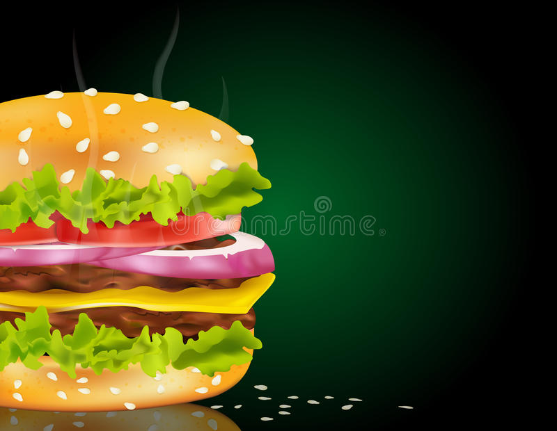 Vector steaming cheeseburger royalty free illustration