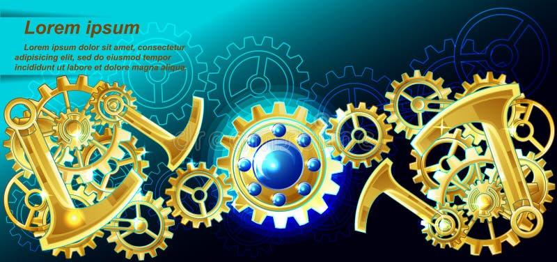 Vector steampunk background. stock illustration