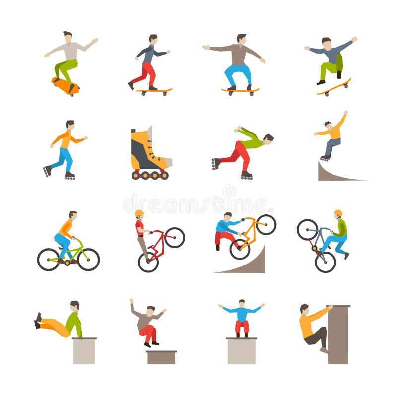 Vector Stedelijke Sportpictogrammen met Mensen stock illustratie