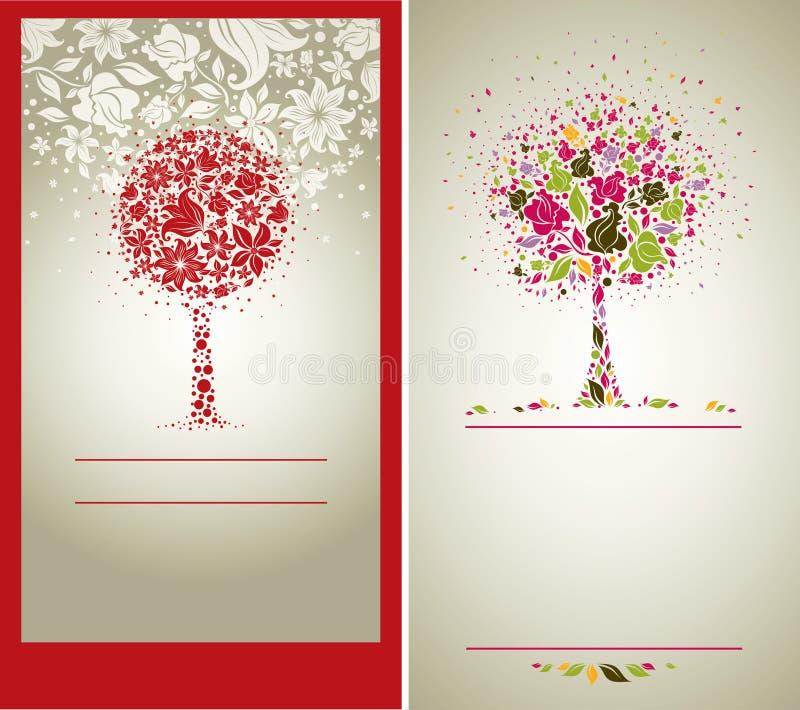 Vector steekproef van ontwerp met boom van bloemen royalty-vrije illustratie