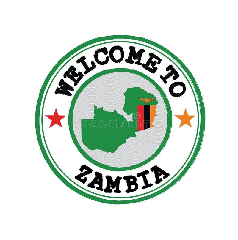 Vector-Stempel der Begrüßung in Sambia mit Kartenskizze der Nation im Zentrum stock abbildung