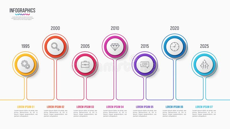 Vector 7 steps infographic design, timeline chart. Presentation template on white background. Global swatches vector illustration