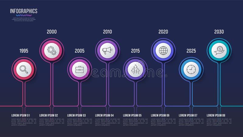Vector 8 steps infographic design, timeline chart, presentation stock illustration