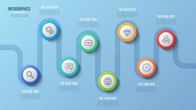 Vector 8 steps timeline chart, infographic design, presentation. Template. Global swatches vector illustration