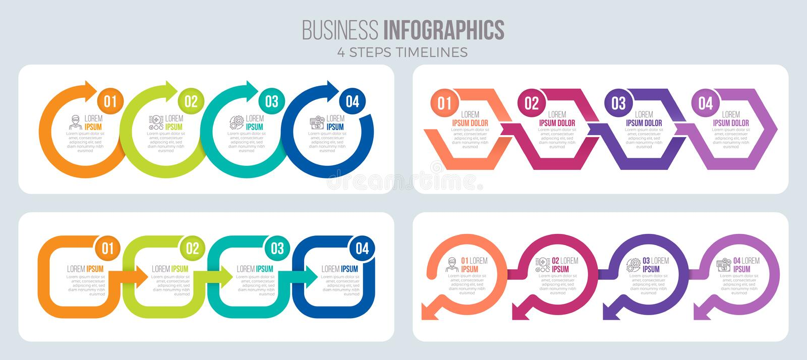 Vector 4 steps timeline infographic template with arrows. Four illustrations set vector illustration