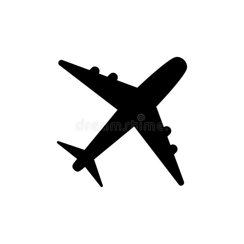 Vector, stevige die het embleemillustratie van het vliegtuigpictogram, pictogram op wit wordt geïsoleerd vector illustratie
