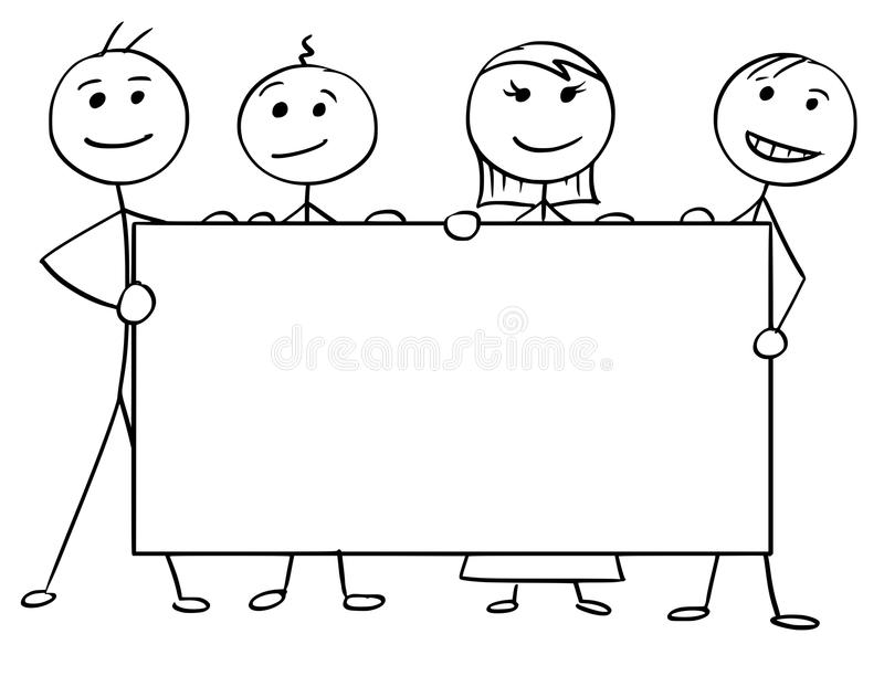Vector Stick Man Cartoon of Four People Holding a Large Empty royalty free illustration