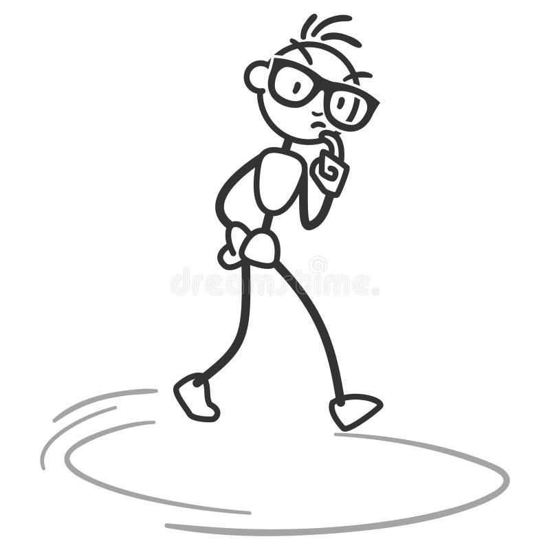 Vector stick man pondering musing walking in circles royalty free illustration