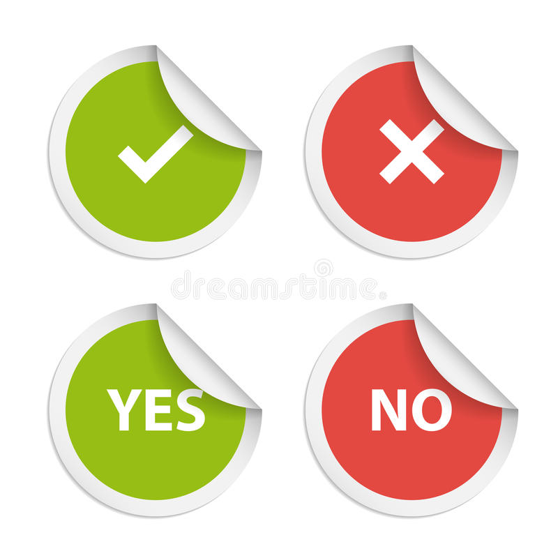 Vector stickers with consent and denial on white royalty free illustration