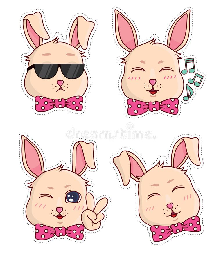Cute banny badges and stickers. Part 6 royalty free stock images