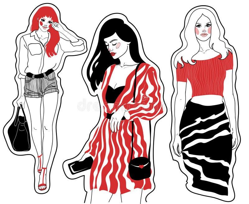 Fashion sketches beautiful girls royalty free illustration