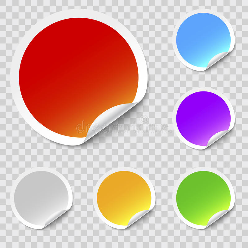 Vector stickers. Vector round stickers with curled edge royalty free illustration