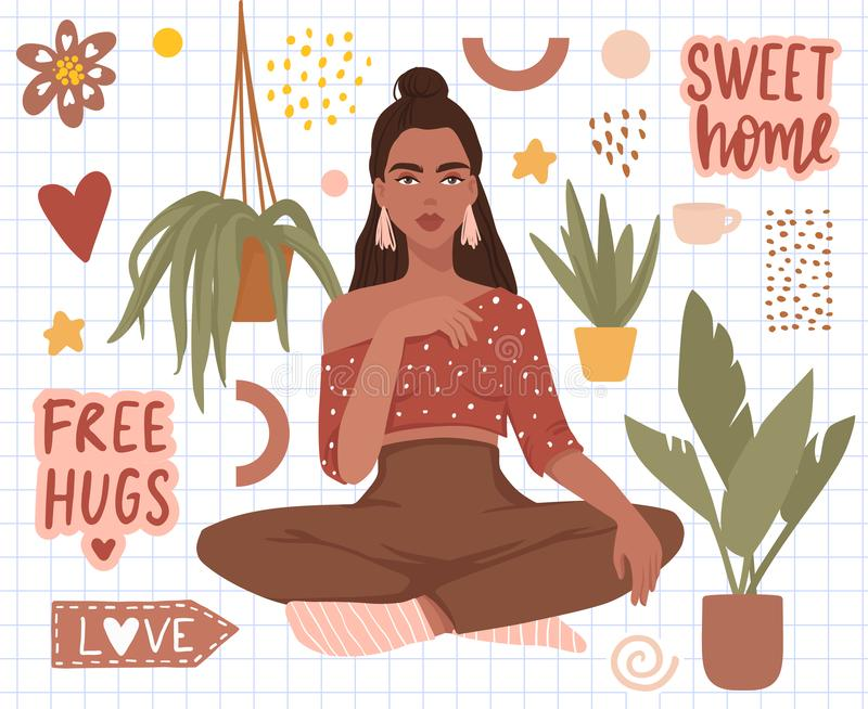 Vector stickers set with beautiful girl, home plants, sweet home hand written text. stock illustration