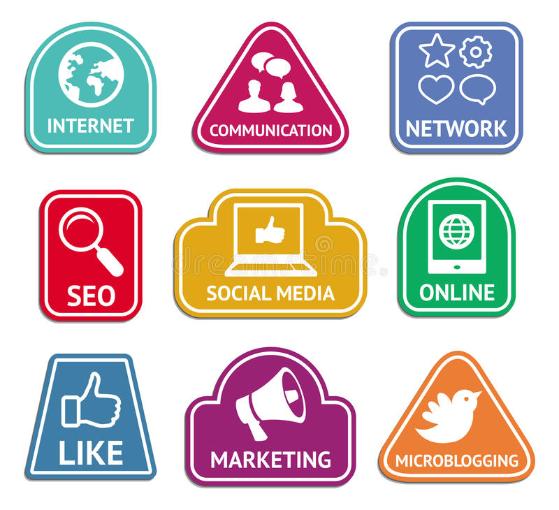 Vector stickers with social media icons vector illustration