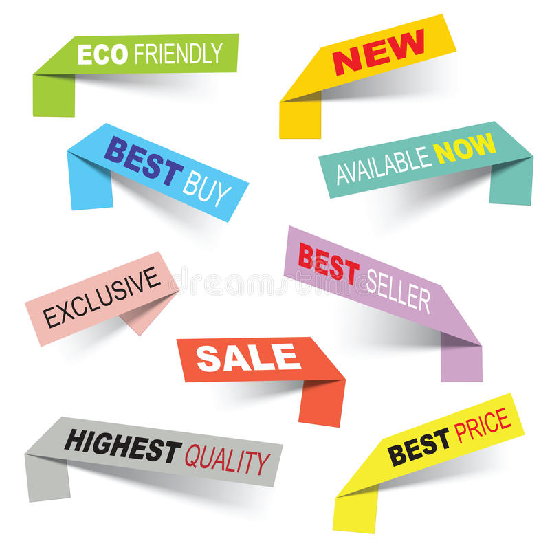 Vector stickers. Vector sticker banners, grouped, easy to modify stock illustration