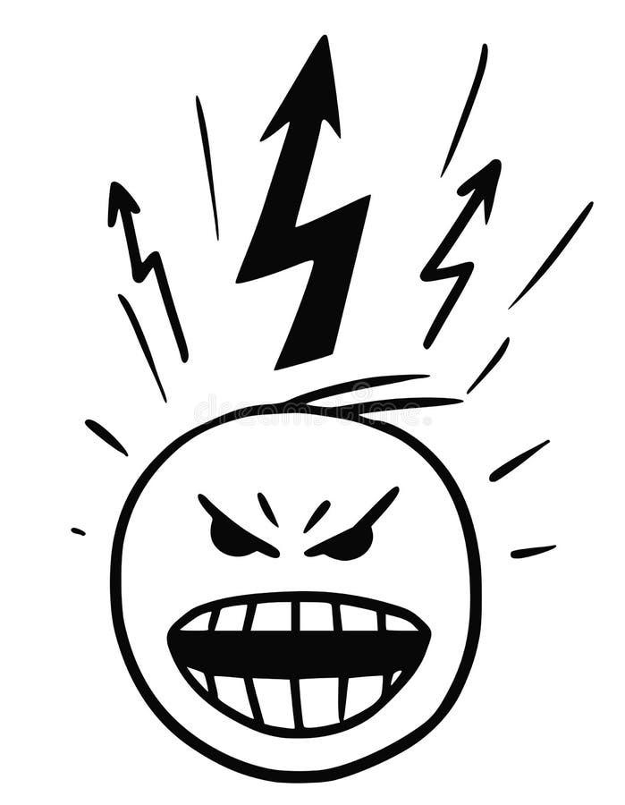 Vector Stickman-Karikatur des Mannes in der Explosion des Ärgers vektor abbildung
