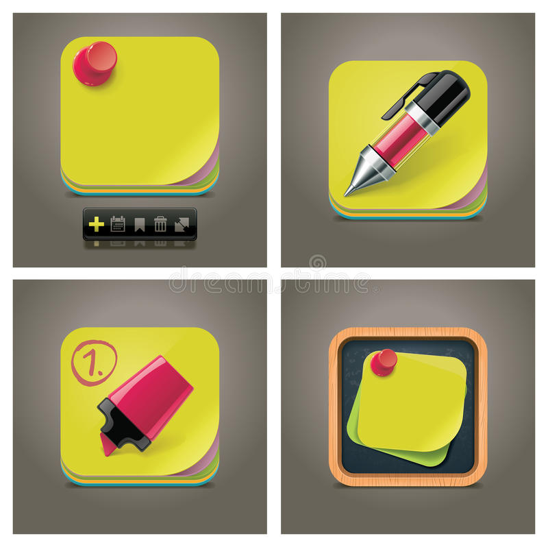 Vector sticky note icon set vector illustration