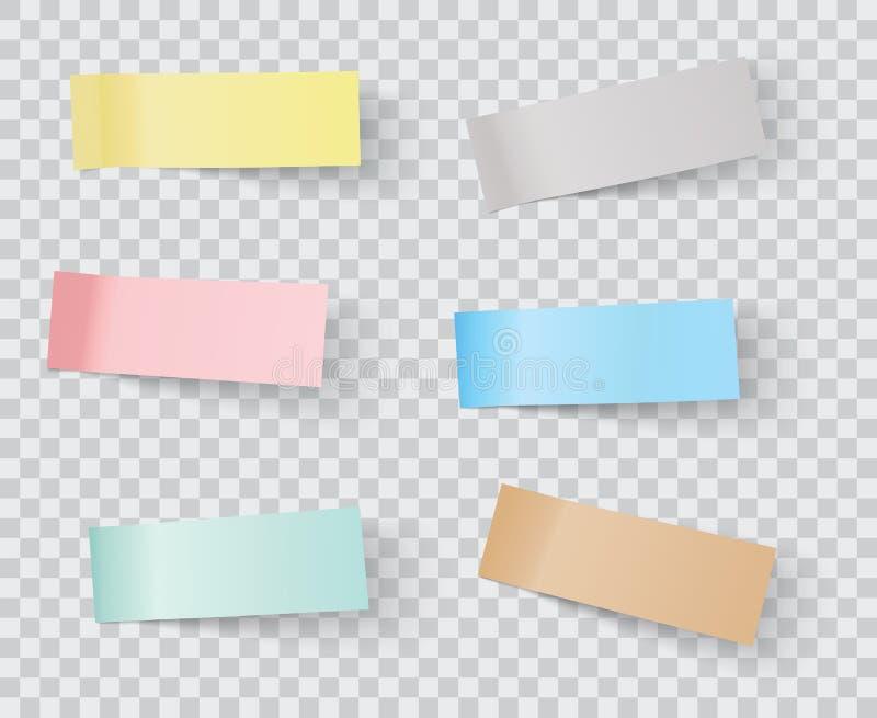 Vector sticky notes. Transparent shadows stock illustration
