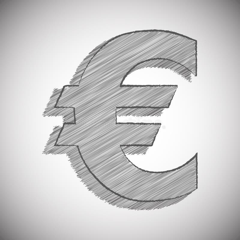 Vector stilisiertes Zeichen des EUROS in der Bleistift-Zeichnungs-Art stockfotografie