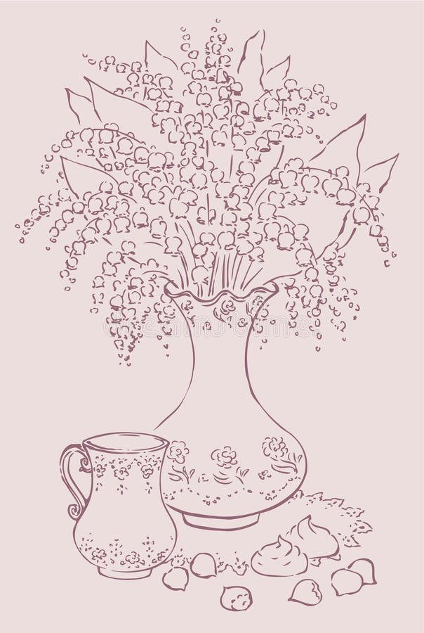 Download Vector Still Life With Bouquet And A Cup Of Coffee Stock Illustration - Image: 23538276