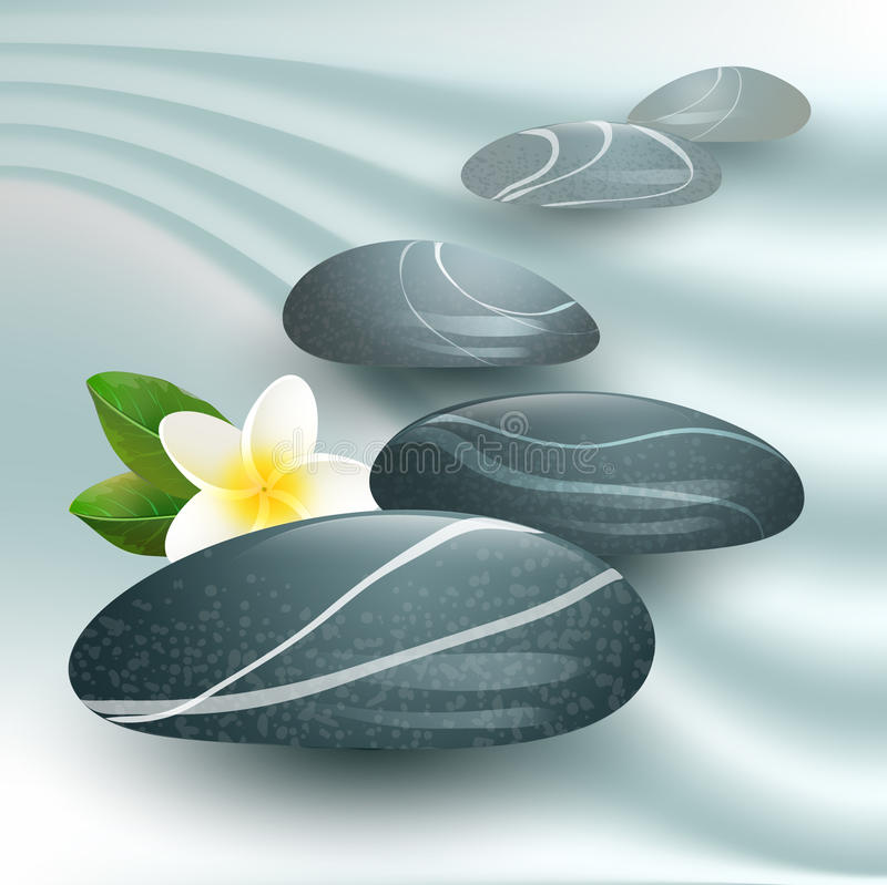 Vector still life on spa theme with stones. And flower on gray background stock illustration