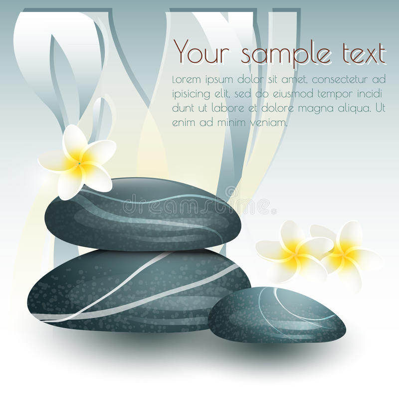 Vector still life on spa theme with stones and. Flowers on gray background vector illustration